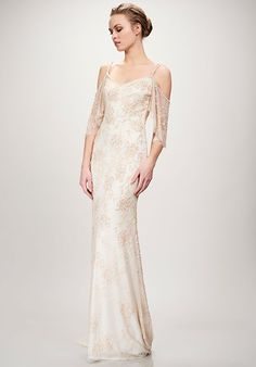499f6cec04ba Blush lace wedding dress with off the shoulder detail Theia Orlando
