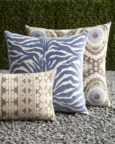 Outdoor pillows - love the blue zebra!