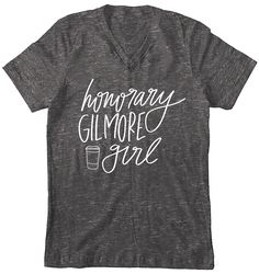 Honorary Gilmore Girl Tee $28 Honorary Gilmore Girl T-Shirt Hand Lettered by ChelceyTateDesigns Women's Gift Gilmore Girls Fan Gift Rory Glmore Quotes Lorelai Gilmore Quotes Gilmore Girl Quotes Coffee Coffee Coffee