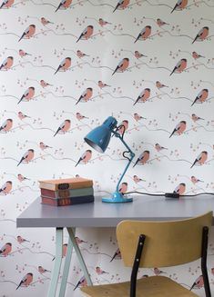 Bullfinch by Lorna Syson - Pink - Wallpaper : Wallpaper Direct Hallway Wallpaper, Dining Room Wallpaper, Office Wallpaper, Kitchen Wallpaper, Nursery Wallpaper, Wallpaper Ideas, Bird Bedroom, Woodland Bedroom, Pink Chests