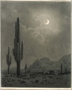 George Elbert Burr - New Moon and Evening Star, Phoenix, after 1923, etching, drypoint and aquatint on paper