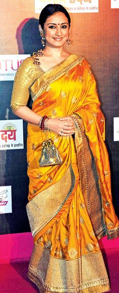 Divya Dutta Chrome Gold Saree #saree #sari #blouse #indian #hp #outfit #shaadi #bridal #fashion #style #desi #designer #wedding #gorgeous #beautiful
