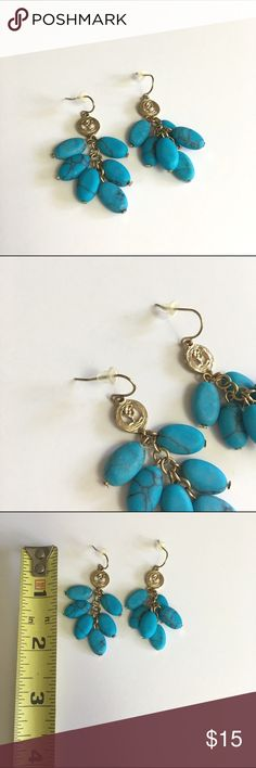 Turquoise Drop Earrings These Turquoise bead drop earrings Are so cute for the summer! Good used condition. A few scuffs. Ask any questions! Jewelry Earrings