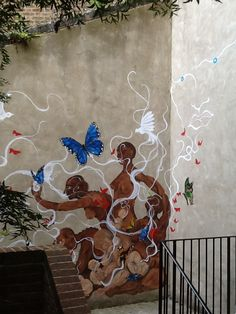 Outdoor wall mural, North London Women's Hostel, 2013.