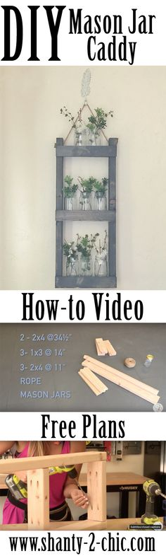 Build this DIY Mason Jar Caddy with a free how-to video and free printable plans! I need one of these in every room!