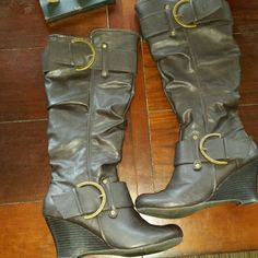 Union bay charcoal gray,black and antique gold boo Beautiful Boots, only worn once, didn't fit. Size 8. Almost Perfect condition =) # HotLook #Simplymarvelous #UwilllookMarv #Perfectgift #strikinglyBeautiful #Shinelikeastar #Classy #Sassy #sweetnsexy Unionbay Shoes Heeled Boots