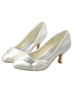 Stunning Ivory Kitten Heel Round Toe Bridal Shoes - Milanoo.com
