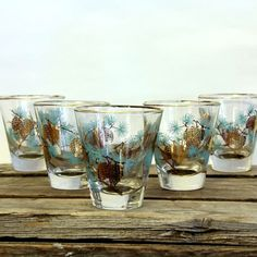 mid century barware Vintage Cocktail Glasses 60s by noJOisaverage, $30.00