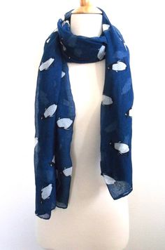 Penguin scarf Penguins Blue scarf Penguin long by SewBirdiful