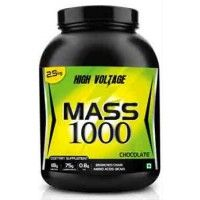 High Voltage Mass 1000 is a dietary supplement designed for body builders, sports people and who want to gain weight as well as to maintain the body weight as same. Mass 1000 help to increase the weight for people who are weighing under the Ideal body weight. It contains 75% of complex carbohydrate and 18% of blended protein. It is easily digestible and better absorption takes place.
