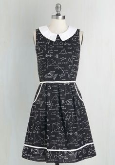 All Eyes on Unique Dress in Science - Black, White, Novelty Print, Print, Peter Pan Collar, Pockets, Casual, Scholastic/Collegiate, Nifty Nerd, A-line, Sleeveless, Variation, Cotton, Woven, Mid-length, Top Rated