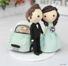 Wedding Cake topper Clay Couple in Tiffany wedding by AsiaWorld, $129.50