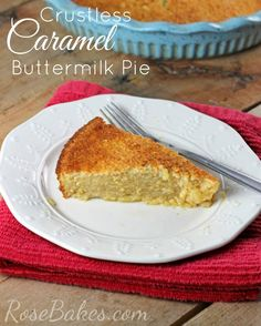 Crustless Caramel Buttermilk Pie - use gluten free bisquick Paleo Dessert, Best Dessert Recipes, Gluten Free Desserts, Pie Recipes, Fun Desserts, Delicious Desserts, Quick Dessert, Pudding Recipes, Dessert Ideas