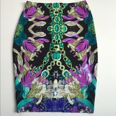 high-waisted bodycon skirt Kaleidoscope patterned high-waisted bodycon skirt from Revolve Clothing. Measurements (flat): 12 inch waist; 16inch width; 21 inch length. It's a size 10 but fits like a 2 or 4. Exceptional quality!! Skirts Pencil