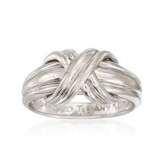 C. 1990 Vintage Tiffany Jewelry 18kt White Gold Criss-Cross Ring. Size 6