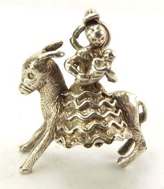 Vintage Silver Spanish MOTHER & BABY On DONKEY Charm
