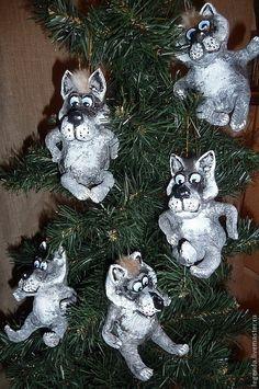 Новый год 2016 ручной работы. Ярмарка Мастеров - ручная работа. Купить Серый волк. Елочные игрушки из папье-маше. Handmade.