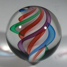 Contemporary art glass marble - twisted core - by Hot House Glass studio.