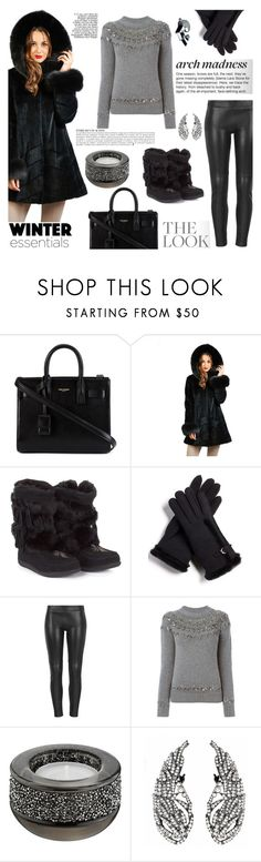 """Holly Black Sheared Mink Coat With Fox Fur Trim Hood"" by furhatworld ❤ liked on Polyvore featuring Yves Saint Laurent, FRR, Muks, MuuBaa, Gucci, Swarovski, Anja, fur, wintercoat and winterlook"