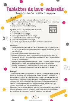 """Réalisez vos propres tablettes pour lave-vaisselle """"maison"""" écologiques. Des pastilles sans produits chimiques et très économiques. Une recette zéro déchet pour la maison et le nettoyage. Facile et rapide à réaliser. Le pas à pas et les instructions sont notées. Avec aussi quelques astuces de consommation """"green"""" . #pastilles #tablettes #lave-vaisselle #zerodechet #eco #diy Home Organisation, Instructions, Coin, Permaculture, Health, Blog, Laundry Detergent Recipe, Health Care, Home Organization"""