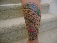 Maori Chip Tattoo On Leg