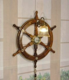 Nautical sailing ship wood ships wheel chandelier ceiling light nautical embedded coin collector wood ships wheel clock wall light sconce wow ebay aloadofball Images