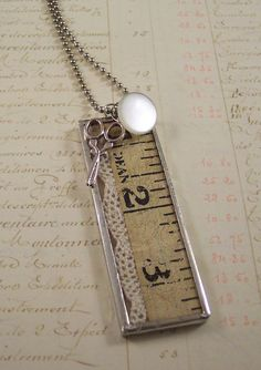 Vintage Sewing Notions Necklace -  Shadow Box Necklace - Vintage Lace Necklace - Measuring Tape Button Scissors - Seamstress Charm Necklace