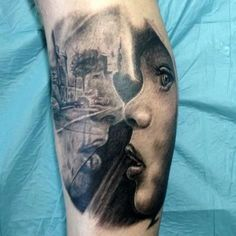Realistic face and shadow tattoo