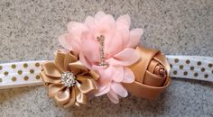 Pink gold first birthday headband, pink gold newborn headband, pink gold birthday, pink baby headband by KenzeesKloset on Etsy https://www.etsy.com/listing/215632418/pink-gold-first-birthday-headband-pink