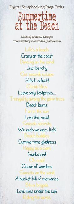 Scrapbook Page Title Ideas - Summertime at the Beach #digital #scrapbook #scrapbooking #title #titles #ideas #digiscrap #summer #beach #ocean #sea by viola
