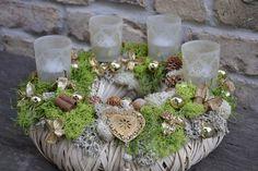 Adventskranz glänzende Natur von Moneria auf DaWanda.com
