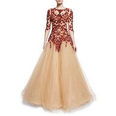 Marchesa Floral-Embellished Illusion Ball Gown (34.870 BRL) ❤ liked on Polyvore featuring dresses, gowns, scarlet, floral ball gown, beige gown, floor length gowns, beaded evening dress and floral evening gown
