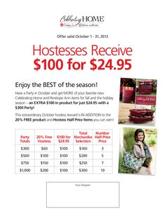 Come host with me in October ! With a $300 show earn a $160 in product for just $24.95 plus 3 1/2 priced items and a hostess only buy great way to shop for Christmas gifts contact me today http://www.celebratinghome.com/sites/52646159