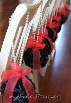 Black and dark coral wedding pomander, isle hanging flower balls. Black rose balls. Wedding ceremony decoration. Custom orders: www.Psalm117.Etsy.com