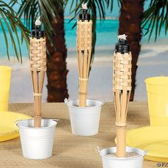 Great idea      tiki lamps on tables or around yard