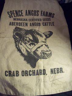 Vintage Feed Sack  Spence Angus Farms Nebraska by VintageKats