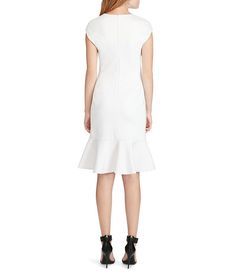 Polo Ralph Lauren Cap Sleeve Ruffled Ponte Dress