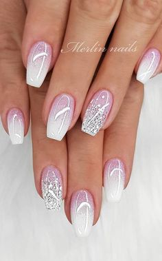 new years nails glitter \ new years nails . new years nails acrylic . new years nails gel . new years nails glitter . new years nails dip powder . new years nails design . new years nails short . new years nails coffin Cute Acrylic Nails, Acrylic Nail Designs, Cute Nails, Pretty Nails, Nail Art Designs, Acrylic Nails For Summer Glitter, Awesome Nail Designs, White Summer Nails, Sparkle Nail Designs