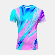 Pink-Blue Liquid Shortsleeve Rashguard, Live Heroes @liveheroes by photography_art_decor. All product: https://liveheroes.com/en/brand/oksana-fineart   #liquid  #psychedelic #marble #wave #abstract #trendy #stylish #fashionable #modern #awesome #amazing #chic #pink #blue #magenta #oil #paint #acrylic