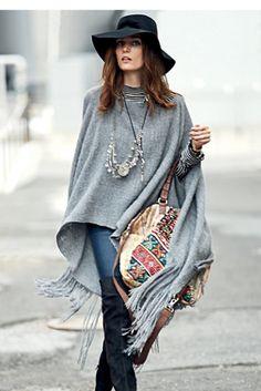 25 ideas en looks con poncho para look chic, ¡inspírate!