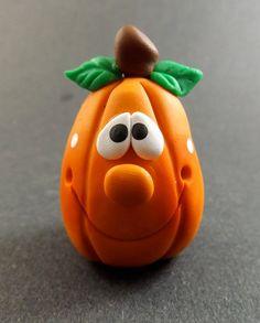 Collectible Pumpkin Clay Figurine Halloween by crittercompany
