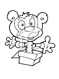 Royalty Free Clipart Image of a Monkey Jack-in-the-Box