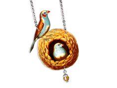 Acryl Kette Vögel Vogelnest vintage von Dear Prudence auf DaWanda.com