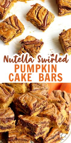 Incredibly moist and perfectly spiced pumpkin cake bars with thick swirls of Nutella all throughout make for the ultimate fall treat! #pumpkinbars #nutellapumpkinbars Mini Desserts, Homemade Desserts, Delicious Desserts, Layered Desserts, Fall Desserts, Sweet Desserts, Oreo Dessert, Pumpkin Dessert, Dessert Bars