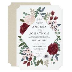 Modern Elegant Fall Watercolor Wedding Invitations Beautiful Fls In Burgundy Pink Marsala