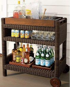 bar set-up, bar cart