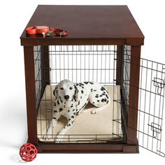 This wood dog crate is beautifully finished to look like real furniture instead of a traditional pet cage. I may have to invest in some of these as my dogs get older. The stairs can be rough on their arthritic joints in the winter. Something like this on the main floor living area would be less of an eye soar than their current kennels!