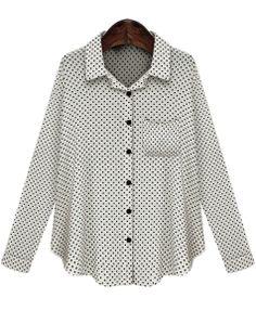 White Lapel Long Sleeve Polka Dot Pocket Blouse EUR€14.36