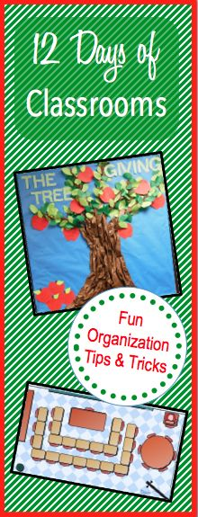 12 Days of Classrooms is here! Check out some AWESOME classroom organizing/decorating tips and tricks:) Stick around for a new idea each day!