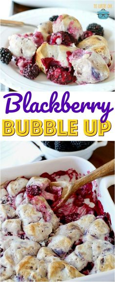 Blackberry Bubble Up - Blackberries - Ideas of Blackberries - This Blackberry Bubble Up is a dessert made with refrigerated blueberry biscuits fresh blackberries (or blueberries) cream cheese powdered sugar all baked up in a casserole dish. Angel Food Cake Desserts, No Cook Desserts, Easy Desserts, Delicious Desserts, Best Breakfast Casserole, Breakfast Recipes, Eat Breakfast, Blackberry Dessert Recipes, Blackberry Ideas
